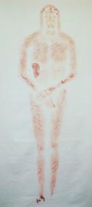 這是裹屍布上正面,全身的影像。 顯示右肋、手、腳三處以上大面積的積血。