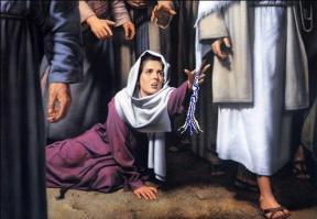 血漏的婦人摸耶穌的衣裳繸子